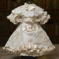 Splendid Antique French Silk Couturier Dress for Jumeau, Bru, Steiner, E.J., Eden bebe or other french Doll