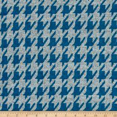 Hatchi Lightweight Sweater Knit Houndstooth Medium Blue  Fabric By The Yard