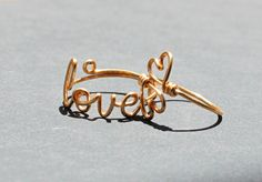 Love And Two Heart Rings Duo Gold Wire Jewelry by FabulousWire, $23.99