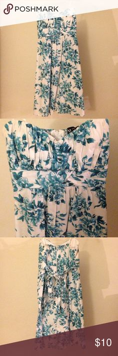 Juniors Sun Dress Juniors size 13 sundress, white with green floral pattern, strapless, in great condition, brand is ruby rox Ruby Rox Dresses Strapless