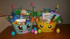 Pokémon Easter Baskets Pokemon Easter Basket, Boys Easter Basket, Easter Baskets To Make, Easter Buckets, Diy Gift Baskets, Easter Bunny, Easter Eggs, Pokemon Gifts, Pokemon Party