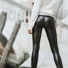 2016 Casual Freddy Pants Mid Waist Leggings Plus Size Push Up Leggings Hip Elastic Fake Leather Pants Leather Panel Leggings, Leather Leggings Outfit, Wet Look Leggings, Velvet Leggings, Shiny Leggings, Faux Leather Leggings, Women's Leggings, Black Leggings, Leather Pants