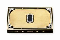 AN ART DECO DIAMOND, ENAMEL AND GOLD VANITY CASE, BY CARTIER