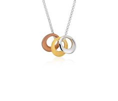 Trio Circle Necklace in Stering Silver, Rose and Yellow Gold Vermeil | #Jewelry #Necklace #Accessories