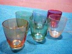 6 x 1950s Shot Glasses – Iridescent Coloured Glass – 6 Diff. Pastel Colours – Vintage German Mid Century Barware Mad Men Style – Schnapps von everglaze auf Etsy