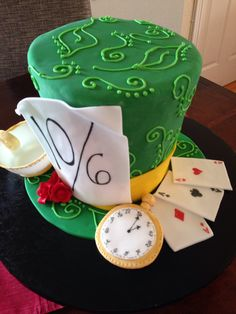 Mad Hatter hat cake  www.tablescapesbydesign.com https://www.facebook.com/pages/Tablescapes-By-Design/129811416695