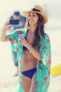 Jessica Alba swim attire.