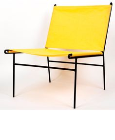 Clement Meadmore; Enameled Metal and Canvas Sling Chair, 1950s.