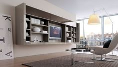 20 Contemporary Living Area Wall Units for Book Storage from Misuraemme: 20 Modern Living Room Wall Units With White Brown Wall Wooden Books Storage Lamp Sofa Carpet Window Hardwood Floor Bookcase Wall Unit, Living Room Bookcase, Living Room Wall Units, Cozy Living Rooms, Living Room Designs, Living Spaces, Book Shelves, Living Area, Küchen Design