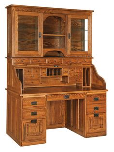 Amish Mission Roll-Top Desk with Optional Hutch This mission style desk is available in three sizes.
