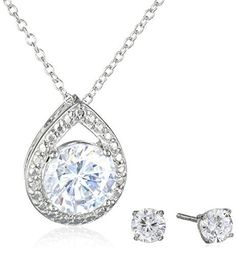 Sterling Silver Cubic Zirconia Teardrop Pendant Necklace and Earrings Boxed Jewelry Set Amazon Collection via https://www.bittopper.com/item/sterling-silver-cubic-zirconia-teardrop-pendant-necklace/