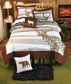 Deer bedspread and bear pillow