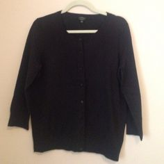 Cardigan Sweater Black cardigan sweater. 100% cotton. 3/4 sleeves. Perfect for layering!  Great condition, only worn a couple of times. Talbots Sweaters Cardigans