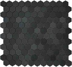 "1"" Hexagon Basalt Mosaic Tile - Backsplash or Bathroom floor.  Cute for a border to accent white hex tiles."