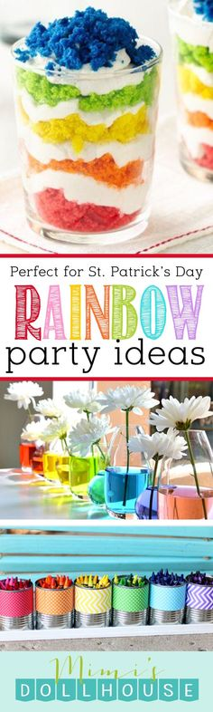 St. Patrick's Day: Rainbow Party Ideas. Looking for the pot of gold or just want to throw a St. Patrick's Day party that is not all green? Today I'm sharing some awesome Rainbow Party Ideas just in time for St. Patrick's Day. Be sure to check out all of our St. Patrick's Day ideas and inspiration. via @mimisdollhouse