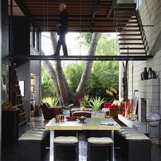 Architect Steven Ehrlich; floating stairs and walkway