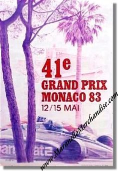 Vintage Original 1983 Monaco Grand Prix Race Poster Hors Commerce Numbered