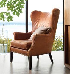 Clinton Modern Wingback Italian Leather Chair with Nailheads Canapé Design, Chair Design, Design Ideas, Leather Wingback Chair, Leather Chairs, Swivel Chair, Best Leather Sofa, Saddle Leather, Sofa Deals