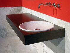 Cedda, mobile da bagno in legno e travertino toscano  www.pietredirapolano.com