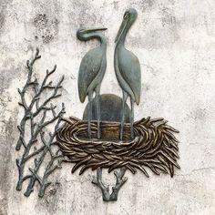 Crane Pair in Nest Wall Décor