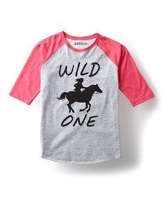 Athletic Heather & Hot Pink 'Wild One' Raglan - Kids