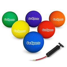 """GoSports Playground Ball (Set of 6) with Carry Bag and Pump, 8.5"""""""