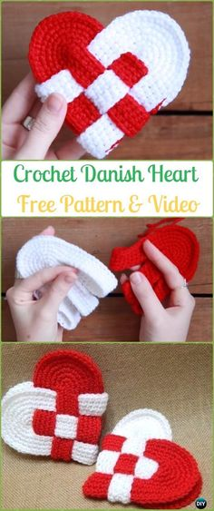 Crochet Interweave Danish Heart Free Pattern&Video -Crochet Heart Applique Free Patterns
