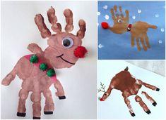 Handabdruck zu Weihnachten Elch Kind Pompoms #bastelideen #weihnachtskarten #christmascards