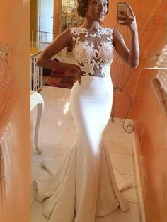 Trumpet/Mermaid Straps Sleeveless Elastic Woven Satin Evening Dresses With Beaded #FJ133