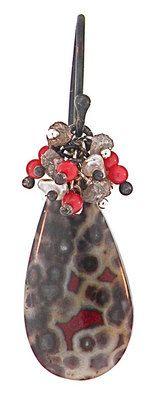 Dana Busch, Designs - Dana Busch - Cluster Drop Earrings with Poppy Jasper, Raw Diamond, Coral, Keshi Pearls, and Oxidized Sterling Silver