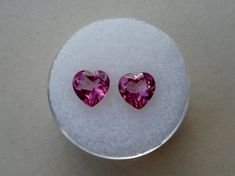 Pink natural topaz heart loose faceted gem pair 7mm #pinnaclediamons