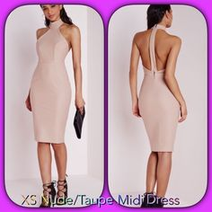 Nude/Taupe Midi XS Missguided dress ❌Sold Out in XS-s ( euro size 2 which is US for XS) Nude/Taupe split Midi Dress. Gorgeous color and shape. Prefer to sell direct pay $55️️ plus ship! ❌NO TRADING❌ please don't ask. All low offers will be ignored. I'm a trusted direct pay shipper! Missguided Dresses Midi
