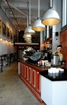 Pikolo espresso bar on Avenue du Parc in Montréal. Owner, Marie-Ève, in this… Cafe Restaurant, Restaurant Design, Vintage Coffee Shops, Montreal Ville, Coffee Places, News Cafe, Espresso Bar, Cafe Interior, Coffee Cafe