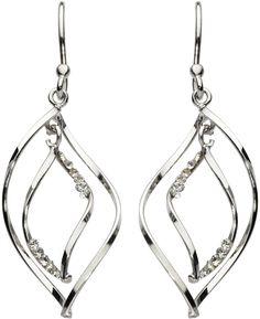 Dew Double Twist Drop Earrings, Silver