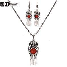 2Pcs/Set Brand Turkish Jewelry Sets Women Party Banquet Bijoux Retro Brinco Metal Chain Pendant Resin Necklace Earrings Set #Affiliate