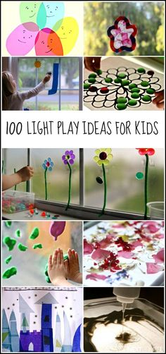 100 light play ideas for kids including light table activities, mirror play, and natural light activities from And Next Comes L