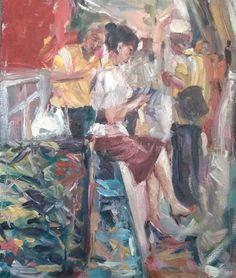 Original Painting, collected Artist Samuel Burton Woman checking her phone, oil Elizabeth Peyton, Now Oils, Original Paintings, Contemporary, The Originals, Woman, Phone, Gallery, Artist
