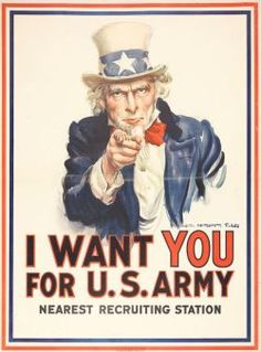 James Montgomery Flagg's iconic Uncle Sam recruiting poster for World War I