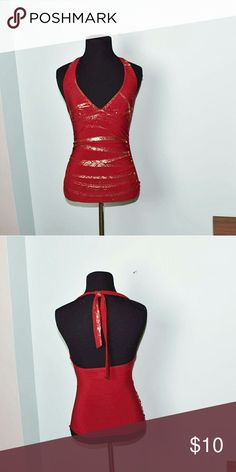 Super Sexy Red Plunge Neck Top In excellent condition. Very sexy and glamorous. Buy 3 items and get one free plus 15% off your purchase total! Tops Blouses