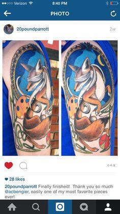 Husband's magic the gathering Mucha inspired tattoo! #mtg #magicthegathering #mucha