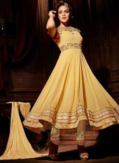 Charming Cream Georgette Party Wear Long Anarkali Salwar Suit