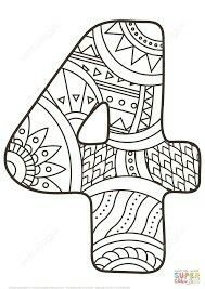 Number 4 Zentangle coloring page from Zentangle Numbers category. Select from 25143 printable crafts of cartoons, nature, animals, Bible and many more. Free Printable Coloring Pages, Coloring Book Pages, Coloring Pages For Kids, Coloring Sheets, Printable Numbers, Printable Crafts, Printables, Funny Numbers, Counting For Kids