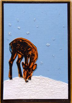 Deer in Winter by Stephanie for the DIY Postcard Swap winter 2014 #diypostcardswap #mailart