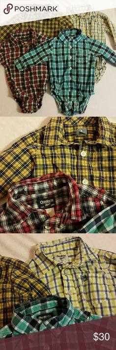 Bundle of 4 12-month-old plaid onesies. Long sleeves.   3 Osh Kosh and 1 Baby Gap.  Excellent condition! Osh Kosh One Pieces