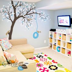 Large Maple Tree vinyl wall decal Kids room by theOliviaDesign