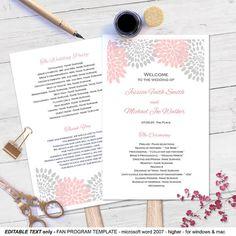 Purple DIY Wedding program fans Printable by MyPrintablePaperie Diy Wedding Fans, Diy Wedding Program Fans, Wedding Ideas, Page Program, Pink Grey Wedding, Program Template, Gray Weddings, Text Color, Vows