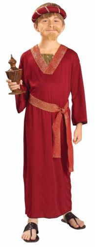 Burgundy Wiseman Child Costume for Holiday Theme , Christmas Party Theme