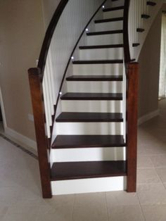Curved mahogany staircase