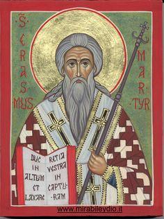 icona  di Sant'Erasmo Martire per mano di Cristina Capella.  www.mirabileydio.it