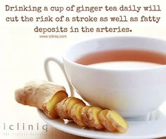 Drinking a cup of #ginger tea daily will cut the risk of a #stroke as well as fatty deposits in the arteries.  Ask your #health queries @ http://po.st/askdoc